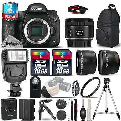 Canon EOS 7D Mark II Camera + 50mm - 3 Lens Kit + Flash + EXT BAT + 2yr Warranty
