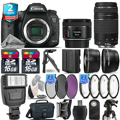 Canon EOS 7D Mark II Camera + 50mm + 75-300 + EXT BAT - 32GB Kit  + 2yr Warranty