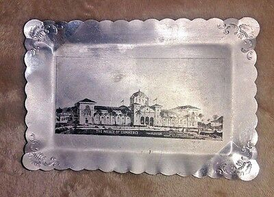 Vintage Worlds Fair Souvenir Aluminum Tray INTER STATE & WEST INDIES EXPO 1901