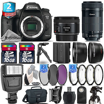 Canon EOS 7D Mark II Camera + 50mm+ 55-250mm + EXT BAT - 32GB Kit  +2yr Warranty