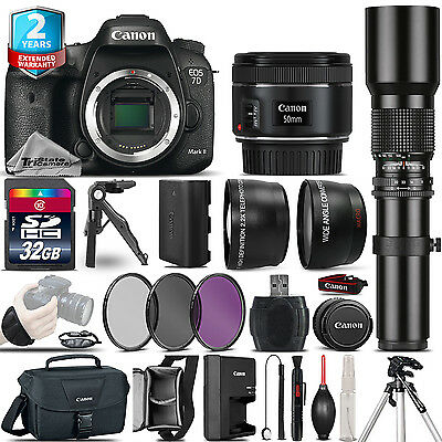 Canon EOS 7D Mark II Camera + 50mm + 500mm 4 Lens Kit - 32GB Kit  + 2yr Warranty