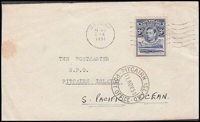 Basutoland 1951 Cover To Pitcairn Is. Kgvi (Id:635/d45263)