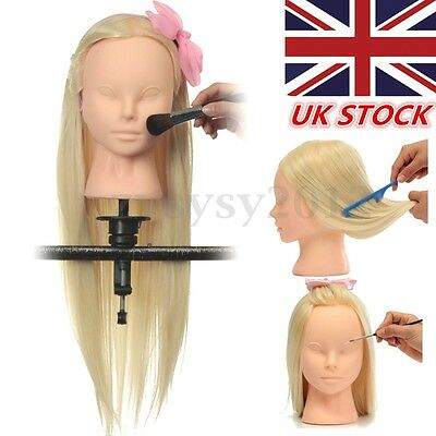 22'' Cosmetology Long Hair Training Head Model Face Makeup Practice + Clamp UK