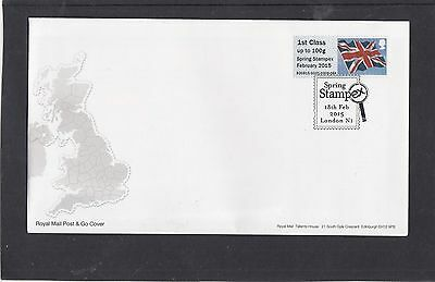 GB 2015  Post & Go Frama Union Flag STAMPEX overprint 1st class stamp GG1 FDC