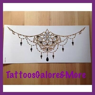 Gold And Black Under The Breast Temporary Tattoo, Henna Chest / Back Tattoo