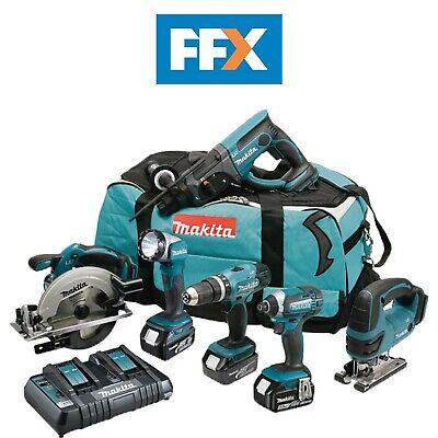 Makita FFX6068PF 18v 6 Piece Kit 3 x 3.0Ah Li-ion Twin Port Charger