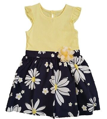 Girls Baby Dress Summer Party Outfit Short Sleeves Yellow Ex Chainstore 12m-6y