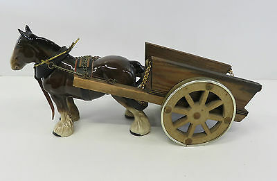 "Melba Ware Ceramic Shire Horse Figurine With Wooden Cart 6.5"" High"