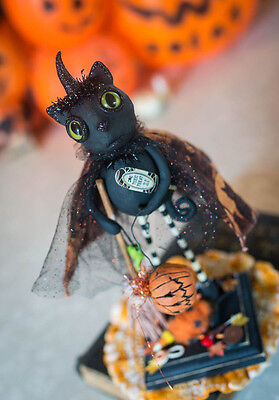 Black CAT Witch Vintage Halloween Inspired Folk Art Hand Sculpted Paperclay Prim