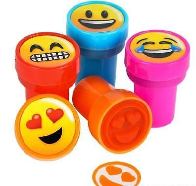4 x EMOJI SMILE FACE STAMPS STAMPER 4 COLOURS KIDS STATIONERY PARTY BAG NOVELTY