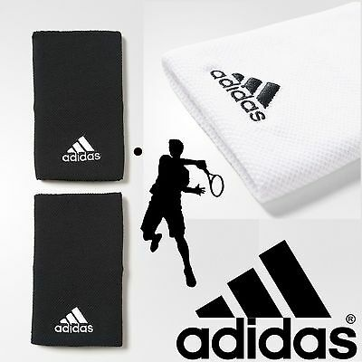 adidas Unisex Tennis Sweatbands Black White Sports Gym Wristbands