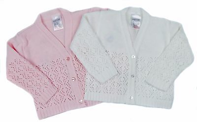 Baby Girl Cardigan Fancy Knit V Neck Cardigan 6-12M 12-18M 18-24M Pink Or Cream