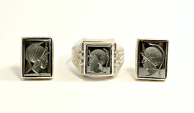 VINTAGE MENS STERLING Silver 925 HEMATITE INTAGLIO CUFFLINKS and RING SIZE 8 FC