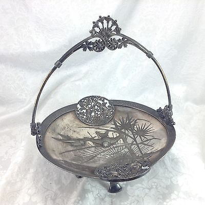 Meriden Silverplate 1843 Birds Cherub Boys Putti Bridal Bride's Basket Handled