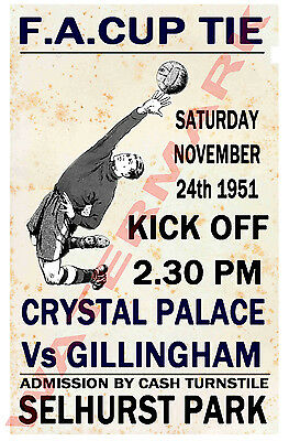 Crystal Palace - Vintage Football Poster POSTCARDS - Choose from list