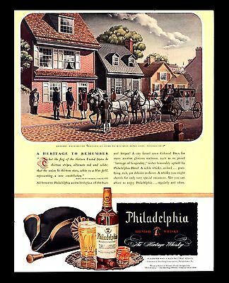 "Original 1946 ""philadelphia Whiskey"" George Washington Betsy Ross Art Print Ad"
