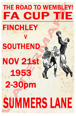 Finchley - Vintage Football Poster POSTCARDS - Choose from list