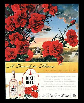 "Original 1946 ""dixie Belle Gin"" Red Carnations State Flower Of Ohio Art Print Ad"