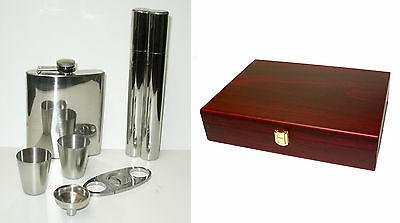 Gorham Fathers Day Gift Cigar Case Cutter Flask Shot Glasses Funnel Cherry Box