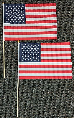 12x18 American Flag on Stick United States USA Banner Pennants Set of 2 Flags
