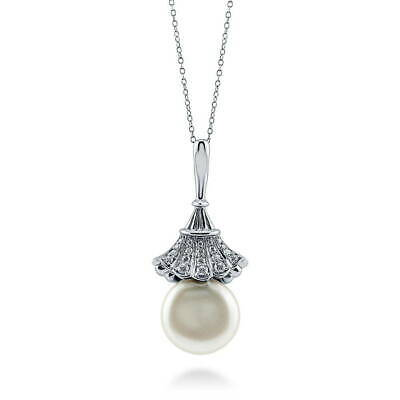 BERRICLE 925 Silver Coin White Freshwater Cultured Pearl Flower Pendant Necklace
