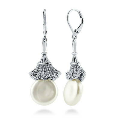 Silver Coin White Freshwater Cultured Pearl Flower Leverback Dangle Earrings