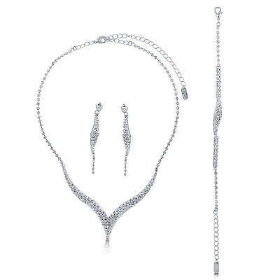 BERRICLE Silver-Tone Rhinestone Bridesmaids Necklace Earrings and Bracelet Set