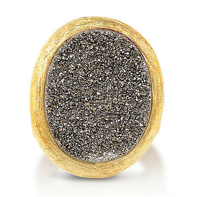 BERRICLE Gold-Tone Oval Cut Brown Druzy Quartz Fashion Right Hand Cocktail Ring