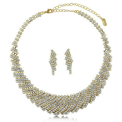 BERRICLE Gold-Tone Rhinestone Bridesmaids Choker Necklace and Earrings Set