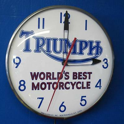 Vintage Pam TRIUMPH WORLDS BEST MOTORCYCLE Lighted Advertizing Clock