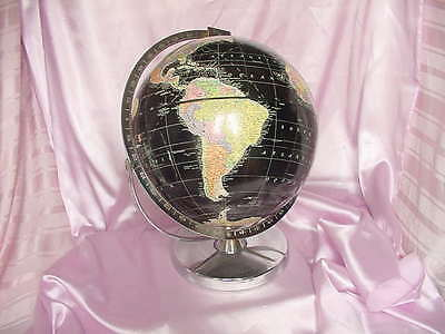 Vintage Replogle 12 Inch Starlight Black & Chrome Mid Century World Globe Nr