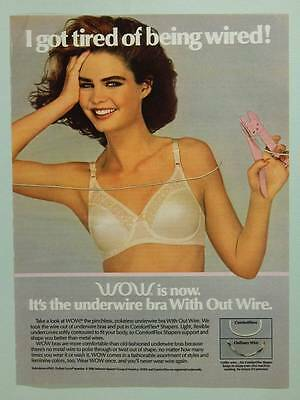 1986 WOW Bras - Vintage Magazine Ad Page - Cute Girl in Bra Cutting Wire