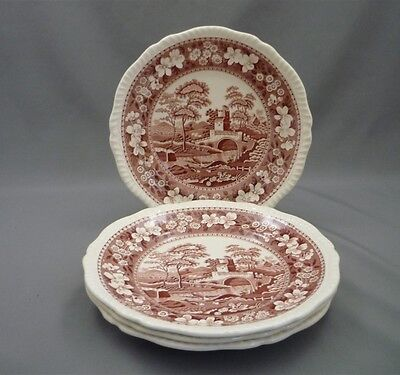 "4 Copeland Spode's PINK Tower England Red Transferware 7 7/8"" Lunch Salad Plates"