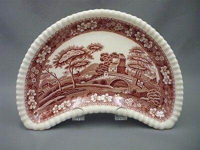 Copeland Spode's PINK Tower England Red Transferware Crescent Shape Serve Dish