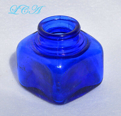 Sparkling CLEAN antique DEEP COBALT BLUE colored INK well SQUARE bottle