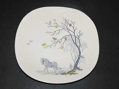 J & G MEAKIN SOL YELLOW & WHITE HORSE PLOUGHING 19.5cm SIDE / TEA  PLATE c1950's