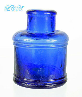 Scarce HAND BLOWN antique COBALT BLUE colored SPOOL INK well ROUND bottle BIM !
