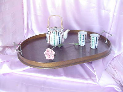 Antique Large Wood Room Service Tea Tray Vintage Butler Serving Nr