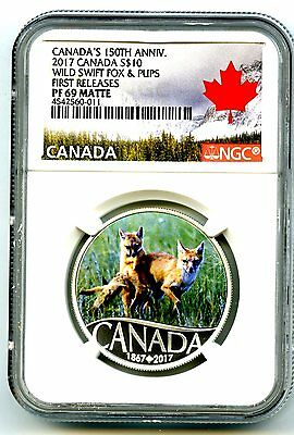 2017 $10 Canada 150Th Silver Proof Ngc Pf69 Wild Swift Fox & Pups First Releases
