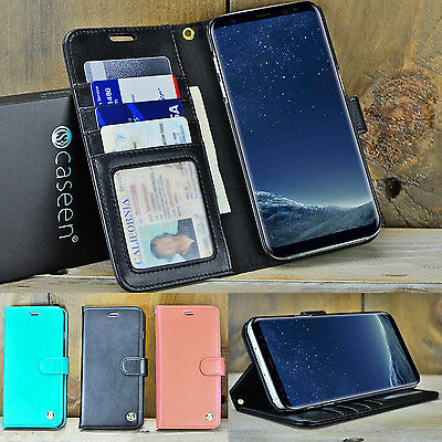 For Samsung Galaxy S8 S9 Plus Note 8 9 Luxury Leather Wallet Case Stand Cover