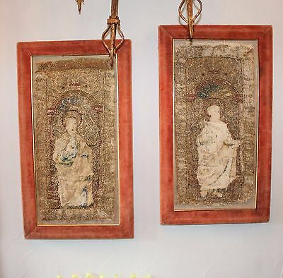 Antique French Renaissance 2 Embroidery Needlework Framed – circa 1550