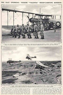 1939 Print British RAF Airplanes Vickers Valentia Troop-carrying Bombers