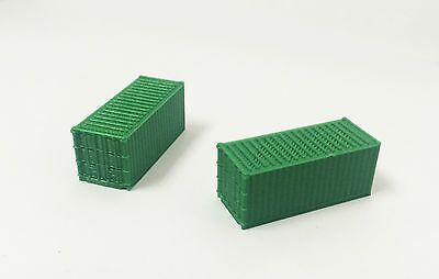 Outland Models Train Railway Accessories 20ft Freight Container Green x2 N Scale