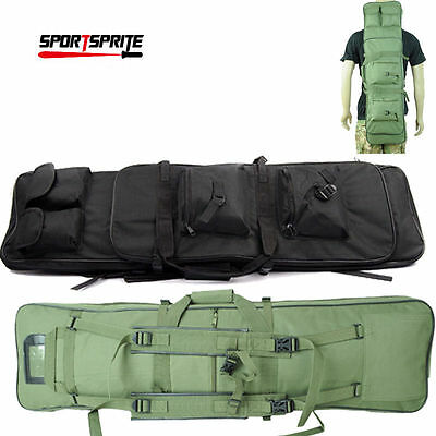 """39"""" Tactical Heavy Duty Dual Rifle Carrying Case Gun Backpack Hand Bag 3 Color"""