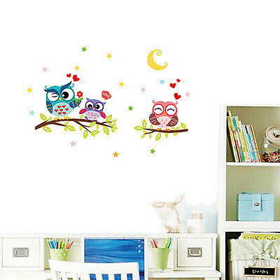 Owl Flower Tree Wall Stickers Nursery Baby Room Decal Mural Art Decor Removable