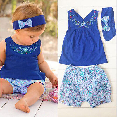 Newborn Baby Girls Kids Clothes Romper Tops+ Floral Shorts+ Headband  Outfits