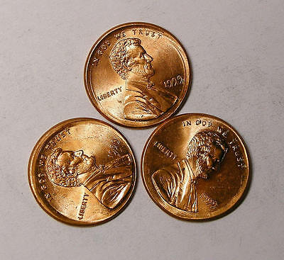 1999 Broadstruck Lincoln Cents Red Bu Lot 3 Coins Inv#245-69