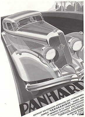 1934 Art Deco Print Ad Panhard Panoramique Auto by A. Now