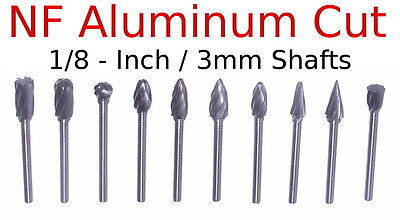 "10pc 1/4"" Aluminum Cut Carbide Bur Set 1/8"" Shank burr nf tungsten"