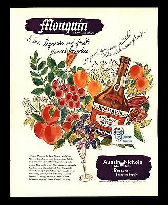 "Original 1946 ""mouquin Apricot Brandy"" Fruit Flavored Brandy Art Print Ad"